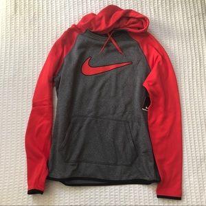 NWT Nike grey and red fleece hoodie size Medium